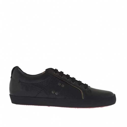 Chaussure à lacets sportif  pour hommes en cuir noir - Pointures disponibles:  36, 37, 38, 47, 51