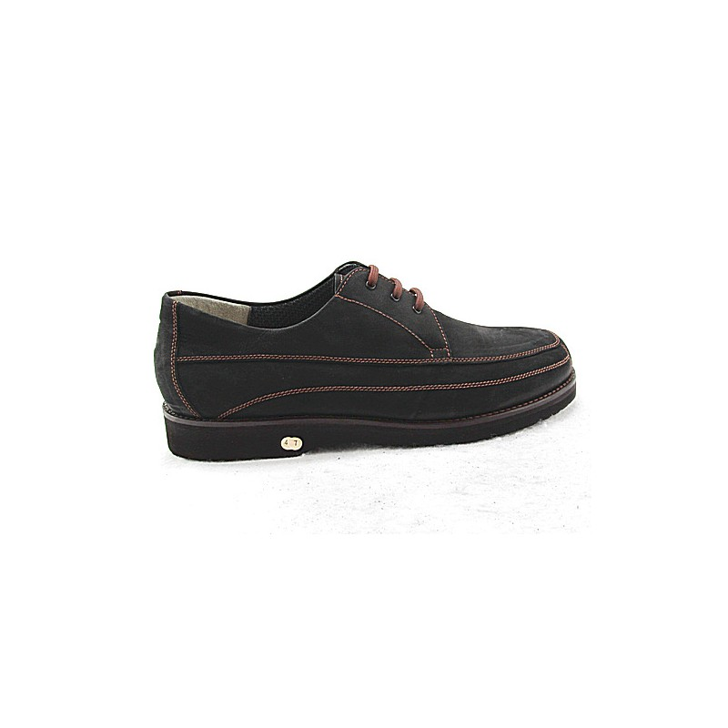 Laced men's shoe in black nubuck leather - Available sizes:  50