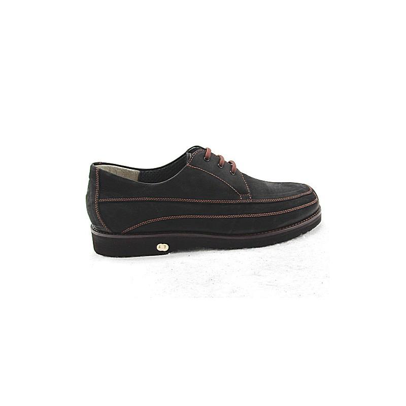 Zapato con cordones para hombre en piel nubuk de color negro - Tallas disponibles:  50
