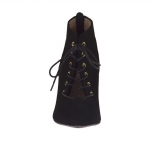 Woman's laced shoe with inner platform and zipper in black leather heel 10