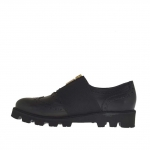Woman's Oxford shoe with elastic band and zipper in black leather wedge heel 3