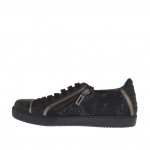 Woman's laced sports shoe with zipper in black and gunmetal leather and black lace wedge 2