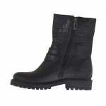 Woman's ankle boot with zippers and buckles in black leather and printed leather heel 3
