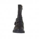 Bottines pour femmes avec fermetures éclair et boucles en cuir et cuir imprimé noir talon 3 - Pointures disponibles:  32