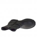Botines para mujer con cremalleras y hebillas en piel y piel estampada negra tacon 3 - Tallas disponibles:  32