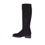 Woman's boot with outer golden zipper and inner half zipper in black suede heel 3 - Available sizes:  33