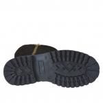 Woman's boot with outer golden zipper and inner half zipper in black suede heel 3