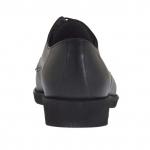 Chaussure derby élégante à lacets pour hommes en cuir noir lisse - Pointures disponibles:  36, 50, 51