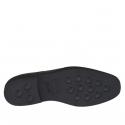 Chaussure derby élégante à lacets pour hommes en cuir noir lisse - Pointures disponibles:  51