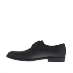Men's elegant and laced shoe in black leather