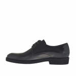 Men's elegant laced derby shoe in grey printed patent leather
