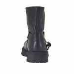 Woman's ankle boot with buckles in black leather heel 3