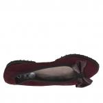 Ballerine pour femmes en daim bordeaux avec arc en cuir verni bordeaux talon 2 - Pointures disponibles:  33