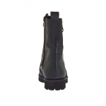 Woman's laced combat style ankle boot with zippers in black leather heel 3