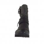 Bottines pour femmes avec fermetures éclair et courroies avec boutons en cuir noir et gris talon 3 - Pointures disponibles:  32
