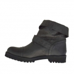 Woman's ankle boot with buckle and turnover in grey leather heel 3 - Available sizes:  32
