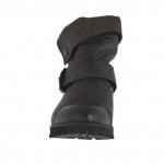 Bottines pour femmes avec boucle et revers en cuir gris talon 3 - Pointures disponibles:  32