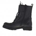 Bottines stil combat pour femmes avec lacets et boucles en cuir noir talon 3 - Pointures disponibles:  32