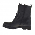 Woman's laced ankle boot combat style with buckles in black leather heel 3 - Available sizes:  32