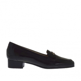 Woman's mocassin in black printed patent leather with metal accessory heel 3 - Available sizes:  34