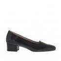 Chaussure fermée pour femmes en cuir verni imprimé noir talon 3