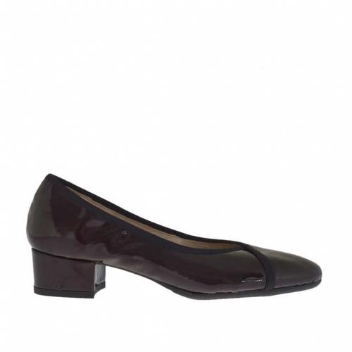Chaussure escarpin fermée pour femmes en cuir verni bordeaux talon 3 - Pointures disponibles:  32, 34