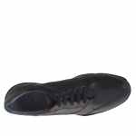 Men's sports shoe with laces in black leather - Available sizes:  47