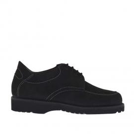 Zapato para hombre con cordones en nabuk negro - Tallas disponibles:  36, 37, 47