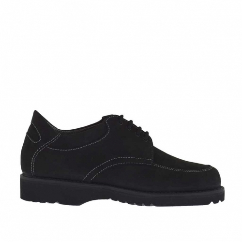 Men's laced shoe in black nabuk leather - Available sizes:  36, 37, 47