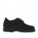 Chaussure à lacets pour hommes en nubuck noir