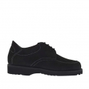 Men's laced shoe in black nabuk leather