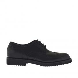 Chaussure derby élégant à lacets avec bout Brogue pour hommes en cuir noir - Pointures disponibles:  51