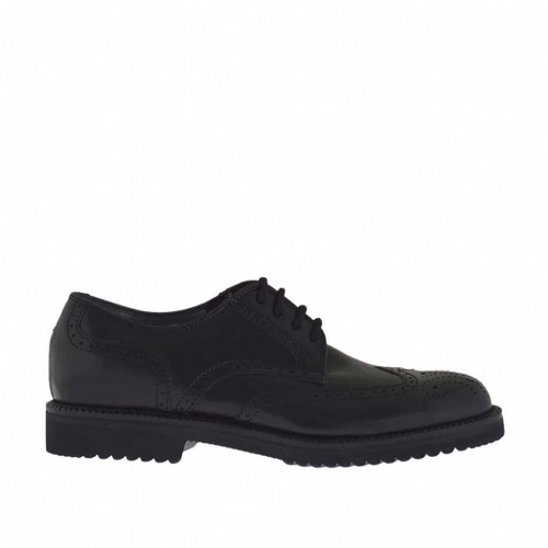 Elegant men's derby shoe with laces and Brogue decorations in black leather - Available sizes:  51