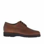 Men's elegant and laced shoe in brown leather - Available sizes:  47