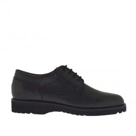 Chaussure derby à lacets élégante pour hommes en cuir noir - Pointures disponibles:  36, 47, 51
