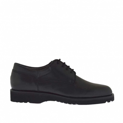 Men's laced shoe in black leather - Available sizes:  36, 38, 47, 51
