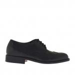 Chaussure pour hommes à lacets en cuir noir - Pointures disponibles:  51
