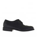 Chaussure pour hommes à lacets en cuir noir