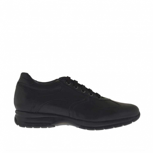 Men's laced sports shoe in black leather - Available sizes:  36