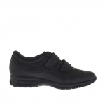 Men's sports shoe with velcro in black leather - Available sizes:  36, 37, 38, 46