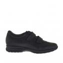 Chaussure sportif pour hommes avec velcro en cuir noir