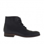 Men's ankle-high laced shoe with zipper and captoe in black leather - Available sizes:  38