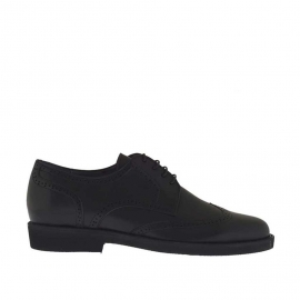 Men's derby shoe with laces in black leather - Available sizes:  36, 51