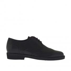 Zapato derby para hombres cerrado con cordones y punta de ala en piel negra - Tallas disponibles:  36, 51