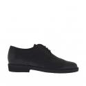 Chaussure derby pour hommes fermée à lacets et bout golf en cuir noir