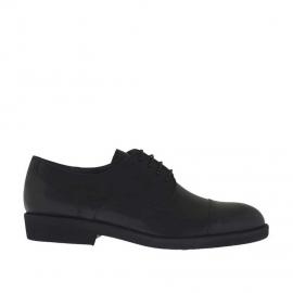 Elégant chaussure derby pour hommes à lacets avec bout droit en cuir noir - Pointures disponibles:  36, 51