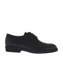Elégant chaussure derby pour hommes à lacets avec bout droit en cuir noir