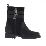 Woman's ankle boot with zipper and bands in black leather and printed suede heel 3 - Available sizes:  32