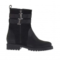 Woman's ankle boot with zipper and bands in black leather and printed suede heel 3