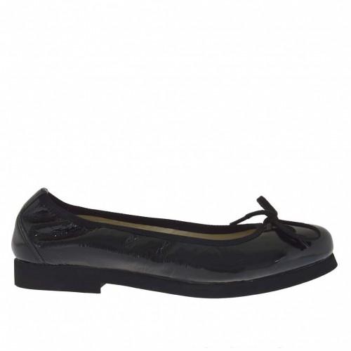 Ballerina chaussure avec noed en cuir verni noir talon 2 - Pointures disponibles:  33